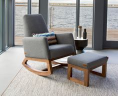Shop the Iconic Joya Nursery Rocker by Monte Design. A stylish nursery rocking chair, with a mid-century modern design. Best rocking chair for the nursery! From nursery to the family room and the precious space in between. Nursery Rocker, Rocking Chair Nursery, Rocking Chairs, Pebble Grey, Exposed Wood, Designer Pillow, Wool Fabric, Green Velvet, Black And Navy