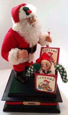 VTG  Santa & Jack n Box Lights up Music Box Noel Candle Holiday Creations 1993
