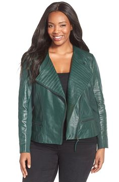 Free shipping and returns on Sejour Quilt Detail Leather Jacket (Plus Size) at Nordstrom.com. An of-the-moment green hue updates a supple leather moto jacket detailed with channel quilting over the lapels and back hem panel. A ribbed knit at the sides and under the sleeves provides flexible comfort.