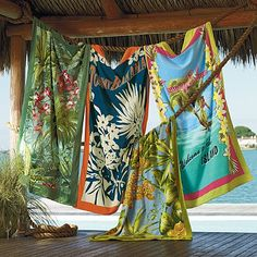 tommy bahama towels are thick, soft and very handsome. They will last for many summers to come.