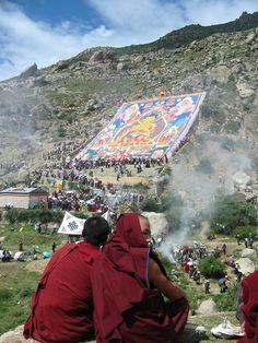 Displayed Thangka . Drepung Monastery . Tibet