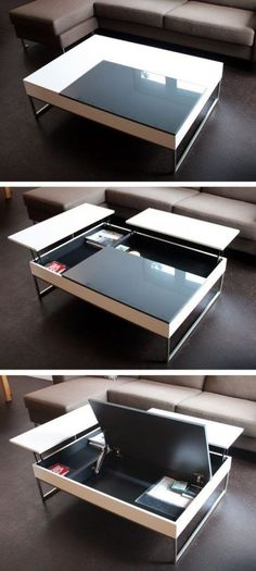 Coffee table with crazy storage from BoConcept Oturma Odası – home accessories Multifunctional Furniture, Smart Furniture, Space Saving Furniture, Furniture Design, Furniture Ideas, Modern Furniture, Refurbished Furniture, Furniture Storage, Plywood Furniture