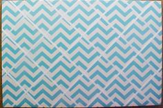 "Fabric Cork Bulletin Boards.  Turquoise Chevrons with White crisscross message ribbons, 24"" x 36"", $130.06, or, YOUR choice of over 1000 fabrics, or YOUR fabric; four standard sizes or custom size; with or without message ribbons; and lots more at   www.PushPinsAndFabricCorkBoards.com,   Category: FABRIC CORK BULLETIN BOARDS, Subcategory: Turquoise. Also matching DECORATIVE PUSH PINS. #fabriccorkbulletinboards #decorativepushpins #fabricwallart #interior designers"