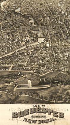 View of Rochester, New York 1880.     Lithograph by Beck & Pauli. H.H. Rowley & Co. of Hartford, Conn. Published in 1880 but created in 1879. Birds eye view.  This is the city where publisher, writer, orator, and former slave Frederick Douglass settled and produced his newspapers.    Deeply Zoomable Version at http://zoom.it/p65b