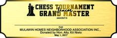 chess tournament (MHNAI) Trophy Design