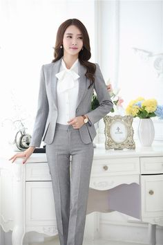 cacf50daa90bf0 Formal Pant Suits for Women Business Suits for Work Wear Sets Gray Blazer  Ladies Office Uniform Styles Pantsuits