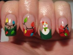 Nail art: Christmas lights and snowman