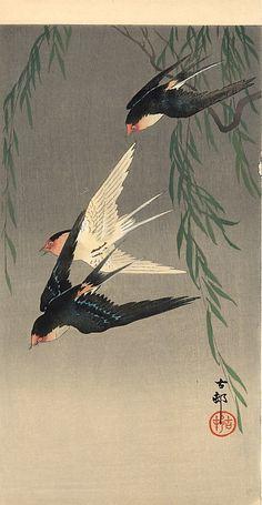 Swallows in Flight - Ohara Koson. They were gone too fast. Tattoo Japonais, Art Japonais, Ohara Koson, Japanese Artwork, Japanese Prints, Chinese Painting, Chinese Art, Japanese Bird, Japan Painting