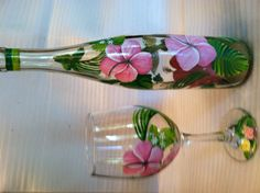 Hand painted bottle and glass set, pink hibiscus with hummingbird