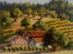 """Dr. Pierce's Medical Discovery"" ~ 6 x 8 - Oil on RayMar panel - Original Landscape by Erin Dertner #vineyard #Sonoma"