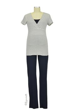 Amity Short Sleeve Nursing PJ Set in Navy Stripes.Please use coupon code NewProducts to receive 15% off these items. To receive the discount, please place your order by midnight Monday, March 23.