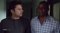 Gus trying to shed tears for Lassie that won't come... Shawn just told Gus he thinks Lassie is dying. #Psych is too much! lol. S.E.I.Z.E. the Day. 1/15/2014 [[PIN #14K]]