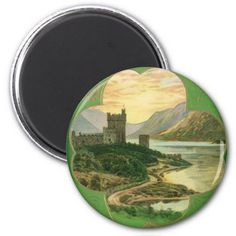 Vintage St. Patricks Day Greetings Castle Shamrock Magnet - click/tap to personalize and buy