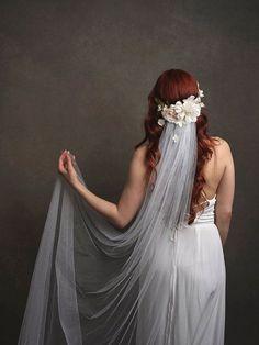 White flower circlet, bridal headpiece, wedding veil, woodland wedding crown, pastel flower crown, boho head piece, whimsical wedding - Aura