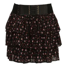 New Look Black and Pink Ditsy Floral Lace Up Tiered Skirt