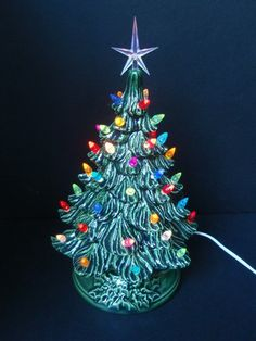 vintage style ceramic tabletop christmas tree lighted electric with tiny lights