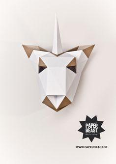 Unicorn Cardboard Trophies Belgium Hand Made Design by Julie Rousseau