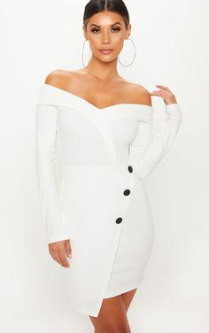 robe blazer col bateau prettylittlething Blazers Blancs ecbf17a16