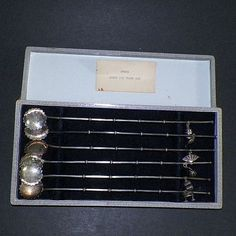 Antique Japanese Sterling Iced Tea Spoon Sipper Straws With Charms