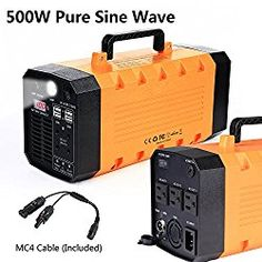 7lb 500W 288WH Backup Portable Generator Solar Power Source Power Inverter UPS 26000mah Li-on Battery Power Supply Powerhouse Charged by Solar/AC Outlet/Cars with 3 AC & 4 DC 12V & 4 USB Ports