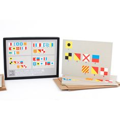 """Nautical Flags Cards : Includes 2 of each """"Happy Birthday"""", """"Best Wishes"""", """"I Love You"""" and """"Thank You"""" cards."""