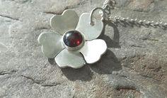 Sterling Silver Flower Pendant with Garnet, January birthstone, P175 £35.00