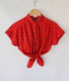 Vintage 80s Red Cap Sleeve Peter Pan Collar Blouse // Light Spring Top. $32.00, via Etsy.