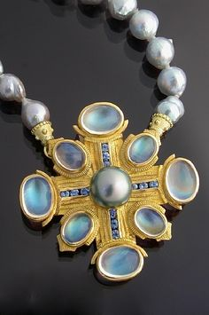 22K Gold, Moonstone, Sapphire and Pearl Brooch by Athenae Inc ~ x