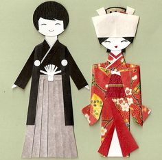 Japanese Bride and Groom paper dolls