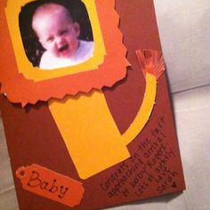 Safari baby shower handmade card with fathers baby picture