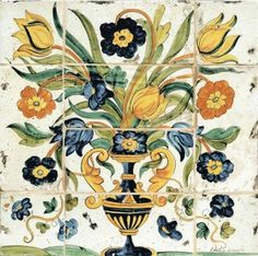 Freely inspired to the 17th century master paintings, this handmade and hand painted Italian tile panel features a large bunch of flowers hardly contained in a footed vase.The panel is suitable for a backsplash, a stove top , a side or a coffee table top, a wall mural. It is also available with a fine frame, made from old walnut wood.L'Antica Deruta Italian ceramics are very well knownworldwide for their unique mix of quality and tradition. All hand painted acco…