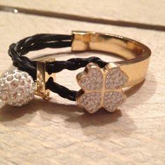 Aviiso sieraden armband paardenhaar goud strass