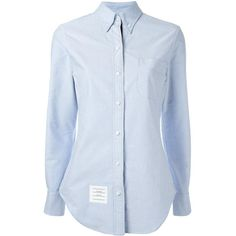 Thom Browne Long Sleeve Shirt Grosgrain Placket In Blue Oxford ($425) ❤ liked on Polyvore featuring tops, blue, long-sleeve shirt, shirt top, long sleeve shirts, blue oxford and oxford shirt