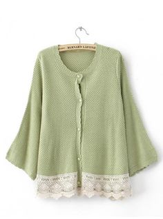 Green Bat Long Sleeve Sweater with Lace $42.00