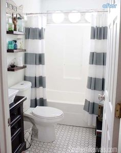 Nautical Bathroom Makeover | betterafter.net Love the shelves!