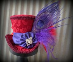 Red Hat Society Mini Top Hat, Purple Alice in Wonderland Mini Top Hat, Tea Party Hat, Mad Hatter Hat, Steampunk, Moulin Rouge, Fascinator