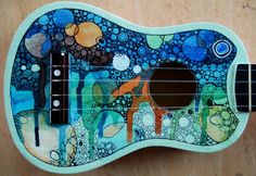 Ukulele by OSCAR-N on DeviantArt~ Oh my golly, this is beautiful. Ukulele Art, Cool Ukulele, Ukulele Songs, Ukulele Chords, Guitar Art, Cello Art, Painted Ukulele, Painted Guitars, Ukulele Design