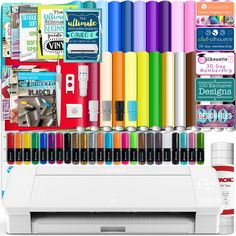 Silhouette White Cameo 4 w/ 26 Oracal Glossy Sheets, Guides, 24 Sketch Pens, and More - Swing Design Silhouette School, Silhouette Design, Silhouette Cameo, Swing Design, Punch Tool, Oracal Vinyl, Vinyl Sheets, Vinyl Cutter, Transfer Paper