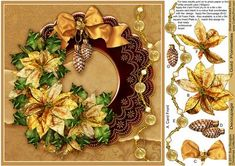 Gold Poinsettias 8in x 8in Decoupage on Craftsuprint designed by Sue Douglas - This pretty Step by Step Easy Decoupage sheet, is from my Christmas Collection of designs. The design features a stunning array of Gold Poinsettias on a Red and Gold Metallic Mat adorned with lovely beads and a Golden Satin Bow with Baubles. The main design will fit an 8in x 8in card blank. Full instructions are included, and the decoupage is added, in step by step alphabetical order. There is also an 8in x 8in…