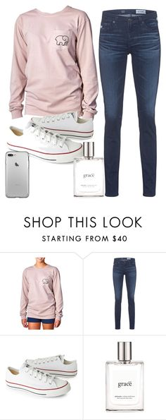 """""""Idc if it's not fall anymore, still wearing my pumpkin ivory ella shirt"""" by lees17 on Polyvore featuring Ivory Ella, AG Adriano Goldschmied, Converse and philosophy"""