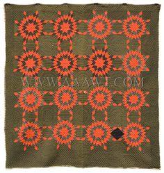 Antique Quilt, Prairie Stars, Amish or Mennonite, entire view