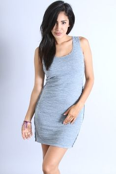 *** New Style ***COTTON/MODAL BLENDED SLUB TANK DRESS WITH EMBROIDERED TEXTURE STRIPES