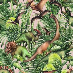 Group of realistic watercolor dinosaurs surrounded by lush prehistoric plants. Animals of Jurassic period. Flamingo Fabric, Dinosaur Fabric, Pattern Images, Royalty Free Stock Photos, Hand Painted, Watercolor, World, Illustration, Prehistoric Dinosaurs