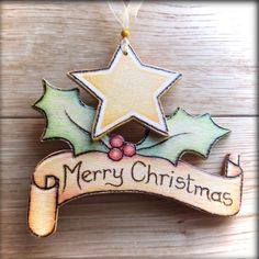 Wooden Personalised Christmas Scroll - pyrographed