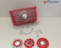 Pop tab purse with replaceable flower crochet pattern ENGLISH-ENGELS