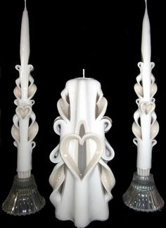 hand carved wedding unity candles - Carved Heart