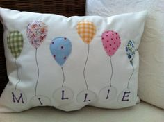 Sewing Cushions Personalised Girls Balloon Cushion - Folksy - High quality and beautiful bedding covers, duvets, sheets and pillow cases for zen mood in your bedroom. Applique Cushions, Patchwork Cushion, Sewing Pillows, Cute Pillows, Diy Pillows, Decorative Pillows, Throw Pillows, Fabric Crafts, Sewing Crafts