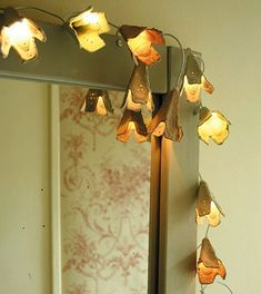 hole punch, string lights, egg cartons