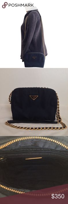 "Authentic, NWOT VIntage Prada Nylon Shoulder Bag NWOT, Vintage Prada Borsa In Tessuto Catena Shoulder or Cross Body Bag in Bleu, Article B4826.  Strap drop is approx. 18 1/4"".  Gold tone chain strap is woven w/ leather.  Single pocket at interior wall w/ zip closure.  Interior satin lining embossed w/ Prada.  Zippered closure.  Certificate of authenticity and Prada dust bag are included.  The leather at the top of the shoulder strap has minor creasing as a result of being stored in dust bag…"