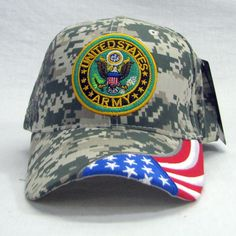 2a361aede1d Military US Army Logo Camoflauge Embroidered 3D Flag Baseball Hat Adjustable
